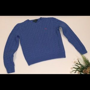 Ralph Lauren Blue Cable-knit Crewneck Sweater